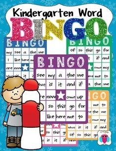 This is a set of 6 bingo cards with 25 basic Kindergarten words included.  It also includes placers to put on the matching drawn words.