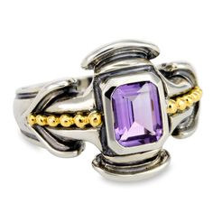 Amethyst Ring Set in Sterling Silver & 18K Gold Accents | Cirque Jewels