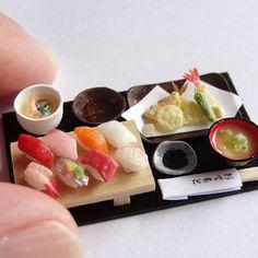 3連投稿します 天ぷら寿司膳、完成 #ミニチュア#miniature#寿司#sushi#tenpura#天ぷら#茶碗蒸し#味噌汁#ハンドメイド#handmade#フェイクフード#fakefood#ドールハウス#dollhouse