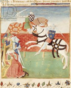 Ms 527 fol.40v Confrontation of Two Knights before the King, from 'Roman du Saint Graal'   Medium vellum Date 15th (C15th)