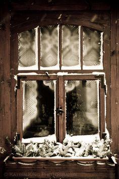 Coastal Cottage — Winter Window by Katrin King Old Windows, Windows And Doors, Ventana Windows, Winter Schnee, Winter Cabin, Looking Out The Window, Window View, Through The Window, Winter Wonder