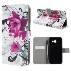For Galaxy A3 (2017) Leather Cases Patterned Leather Magentic Cover for Samsung Galaxy A3 (2017) 4.7 inch - Kapok Flower