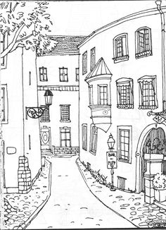 Vida Simples Cidade dos Sonhos                                                                                                                                                                                 Mais House Drawing, Coloring Sheets, Coloring Books, Colouring, Doodle Drawings, Doodle Art, Colorful Drawings, Urban Sketching, Simple Coloring Pages