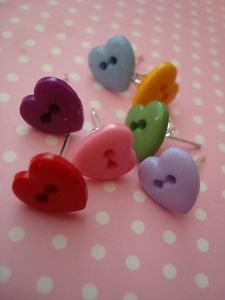Tiny heart button earrings - Jelly Button Jewellery