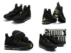 07f2f89b3d9 Buy 2017 2018 Lebron 15 XV Black Metallic Gold Mens Basketball Shoes 2018  For Sale