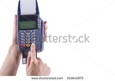 Women hand touch on Green Button in  Credit card machine with the word APPROVE , Isolated white background,Clipping path - stock photo