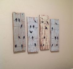 Birds on a Wire Rustic Wall Decor- Reclaimed Barnwood Decor- Upcycled Country shabby chic Wood sign by ClearSkyDesigns on Etsy https://www.etsy.com/listing/227547441/birds-on-a-wire-rustic-wall-decor