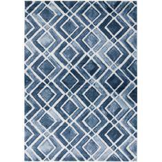 navy + white geometric rug