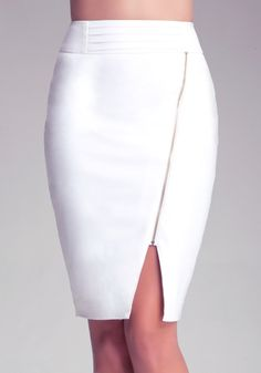 Hottie alert! This unique, curve-loving pencil skirt features an eye-catching asymmetric front zip that extends from hip to hem slit. Me-ow! With wide, detailed waistband and back exposed zip. High heels, please.