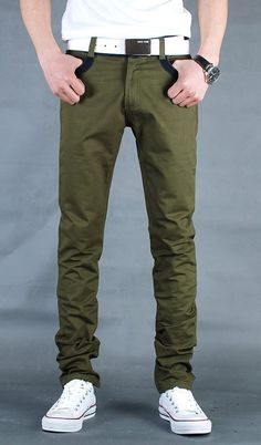 Men Fashion Vogue Contract Color Casual Jean Army Green Pants XS/S/M/L/XL/XXL@S5N04ag