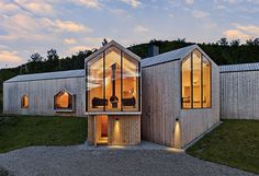 Local pine boards line virtually every surface of a Norwegian ski chalet's façade.