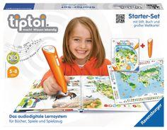"""tiptoi® Starter Set """"Weltatlas""""   Inhalt:     1 tiptoi® Stift, 1      Verbindungskabel,     1 Buch """"Mein großer Weltatlas"""",      1 Weltkarte"""