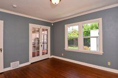 Blue walls crisp white trim Wall, Home, White Trim, Spanish Style Homes, Blue, Blue Walls, Windows, Orange Grove, White