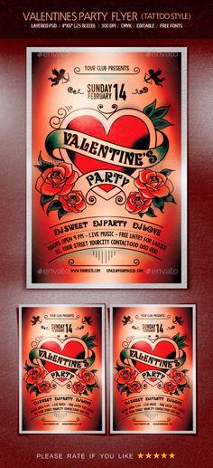 valentine club flyer template