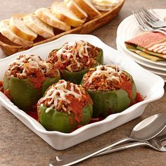 Italian Stuffed Peppers: Stuff bell peppers with a flavorful mixture of ground beef, rice, onions and Italian seasonings. It's easy enough to make for a weeknight meal because we've omitted the added step of precooking the bell peppers. Italian Stuffed Peppers, Stuffed Peppers With Rice, Stuffed Peppers Ground Beef, Baked Stuffed Peppers, Brunch, Beef Dishes, Turkey Dishes, Ground Beef Recipes, Cooking Recipes