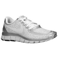 Nike Free 5.0 V4 - Women's - White/White/Metallic Silver/Pure Platinum