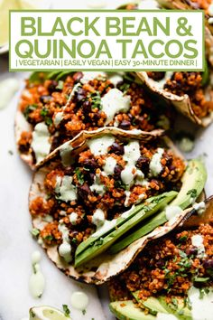 Tasty cooking recipes in photos and videos. quinoa & black bean tacos (with cilantro lime crema!) - meet your new favorite vegetarian quinoa & black bean tacos recipe! vegetarian (vegan-friendly), 30 minutes, and made with pantry staples! Vegetarian Tacos, Tasty Vegetarian Recipes, Mexican Food Recipes, Whole Food Recipes, Cooking Recipes, Healthy Recipes, Vegan Bean Recipes, Vegetarian Recipes For Beginners, Healthy Tacos