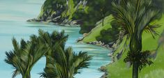 Kirsty Nixon Art :: native plant life, our unique coastline or dramatic rolling hills - I am drawn to the New Zealand landscape in all it's guises. New Zealand Landscape, Nz Art, Native Plants, Animal Paintings, Landscape Paintings, Tropical Paintings, Cool Art, Contemporary, Artworks