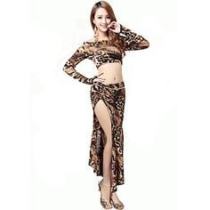 Look for animal prints here Belly Dance Outfits Women's Performance Chinlon d 2 Pieces Leopard Print Belly Dance Top / Skirt 4759051 2016 – $64.34