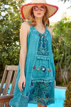 Hippie Style, My Style, Hippie Bohemian, Woman Beach, Smart Casual, Models, Fit Women, Turquoise, Summer Dresses