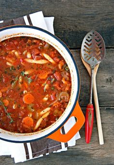 Vegetable Soup .....  Chunky Vegetable Soup - This is delicious and FAST.   Nichole's adjustments:   Garlic - 1 large cloves, minced