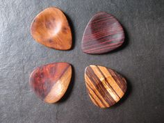 4 Exotic Wood Guitar Picks - Set Of Four - Wooden Pick - Right  Hand - Ergonomic Design - Set Number 3