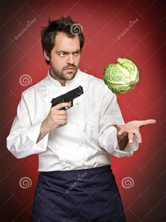 Male Cook Pointing Gun At Savoy Cabbage Funny Images, Funny Photos, Reddit Funny, Draw The Squad, Thomas The Tank, Stock Foto, Meme Template, Poses, Cursed Images