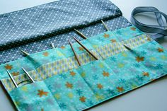 knitting needle wallet with pattern