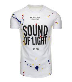 Biele pánske tričko s potlačou. Vyrobené z mäkkého, na dotyk príjemného materiálu. Pohodlný strih. Absolutný hit pre túto sezónu. Vhodné na každý deň.