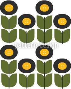 Pattern Design with Retro Flowers, designed by Alexandra Bolzer, Austria    High-quality Vector Pattern from patterndesigns.com