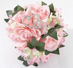 Rhinestone Double Heart Wedding Bouquet Pick