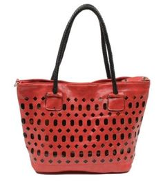Scarleton Perforated Faux Leather Tote H104710 - Red,