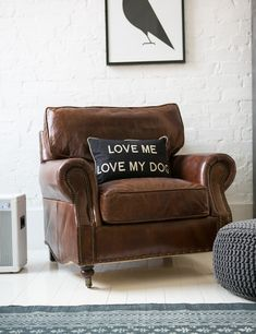 Vintage Leather and Linen Armchair. Buy online now from Rose & Grey, Eclectic Home Accessories and Stylish Furniture for vintage and modern living Vintage Leather Sofa, Leather Furniture, Distressed Leather, Leather Chairs, Black Leather, Furniture Near Me, Kitchen Furniture, Furniture Buyers, Furniture Stores