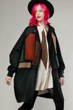 Vintage 80s Color Block Cape Coat #avantgarde #cape #vintage #colorblock #pinkhair