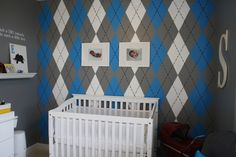 Any boy of D's needs an argyle wall {colors to vary}