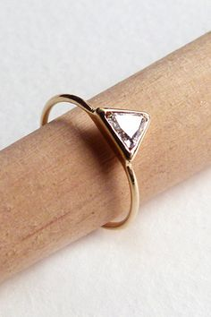 15 Alternative Engagement Rings For Your Off-The-Market Moment #refinery29  http://www.refinery29.com/46960#slide5  Artemer Trillion Diamond Ring, $720, available at Artemer.