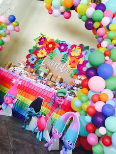 take a look at this incredible Trolls Party Birthday Party! The balloon decor is amazing!! See more party ideas and share yours at CatchMyParty.com