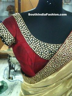Kundan studded saree blouse design