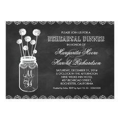 Chalkboard Wedding Rehearsal Dinner Cards Chalkboard mason jar rehearsal dinner invitations