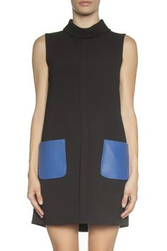 Lambskin Pockets Shift Dress: Blue is the signature color for this season. This playful dress is spliced by adding blue leather pockets. This intricate design keeps this piece fresh and modern. Wear it with ankle boots.