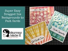 Making Backgrounds and Cards 12 Cards in No Time - (dragging ink pads down embossed card)