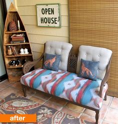 cannot not pin this! tag sofa chair printed ethnic cushion animal print songket idea  Before & After: A Sturdy Settee Gets a Makeover for a Patio! | Apartment Therapy