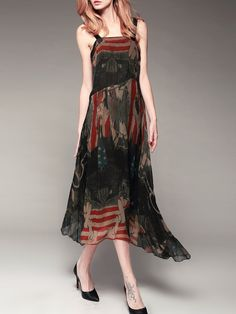 #AdoreWe #StyleWe Designer Midi Dresses - Designer Pokwai Coffee Printed Spaghetti Casual Square Neck A-line Midi Dress - AdoreWe.com