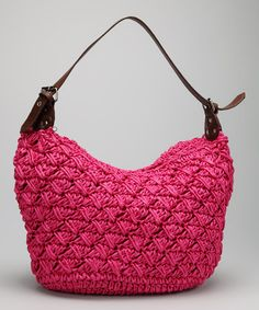 Take a look at this Straw Studios Fuchsia Woven Straw Flexible Satchel by Straw Studios on #zulily today!
