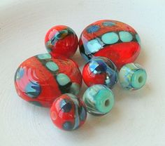 Dots Lampwork Beads Neon Color Summer Fashion by CandanImrak, $28.00