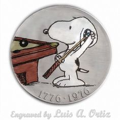 Snoopy Pool Hustler S637 Ike Hobo Nickel Engraved & Colored by Luis A Ortiz