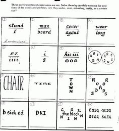 Picture Puzzles Brain Teasers | Cath's Corner - brain teasers - Position Puzzlers