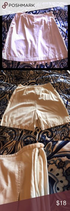 100% cotton skort size 10 Soft, lightweight, khaki colored high waisted skort with flap front and side zip enclosure.  Skirt in front view, shorts in back. 100 cotton.  Worn just a few times. Very comfortable. Casual Corner Shorts Skorts