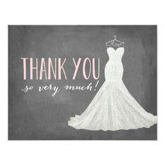 Pink Wedding Thank You Cards Stylish Dress   Thank You Card