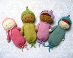 This pattern will instruct you on how to Knit my original Baby dolls, and I have included lots of photos to help you along the way! A perfect toy to knit up for for a baby shower or Birthday! The Baby without hat measures 6.5 inches tall.  Materials needed: Worsted Weight yarn- Flesh color, gown color, and any other colors of your choosing Pair of size 4 straight knitting needles Stuffing Yarn needle Embroidery thread or scrap yarn for face and my original pattern of course!  To make this…